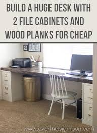 Diy Cheap Desk Diy File Cabinet Desk Tutorial The Big Moon