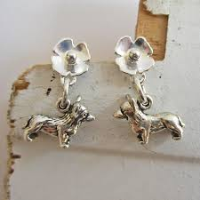 poppy earrings corgi poppy sterling silver earrings dog park publishing