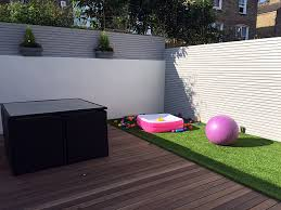 low maintenance garden design hardwood deck artificial grass