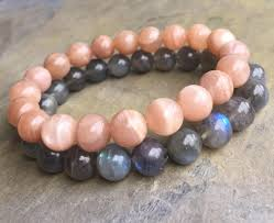 beaded elastic bracelet images 2018 10mm peach sunstone beads bracelet 10mm black labradorite jpg