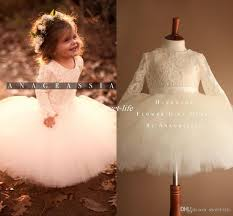 ivory tutu flower girls dresses for weddings cute long sleeves