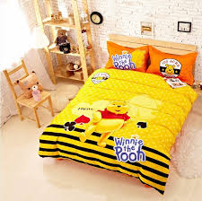 Children S Duvet Cover Sets Cute Cartoon Winnie The Pooh Yellow Children U0027s Bedding Set Twin