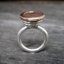 Hutch Jewelry Concrete And Diamond Ring In Bronze Sterling Hutch Handcrafted