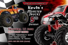 monster truck jam birthday race party photo invitations sale