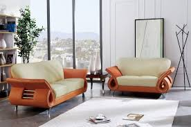 Leather Sofa Set For Living Room Global Furniture U559 Bei Orange Modern Beige Orange Leather Sofa
