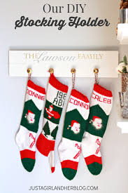 decorating diy christmas stocking hanger with background made of