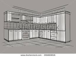 Kitchen Design Sketch Modern Interior Sketch Corner Kitchen Design Stock Vector