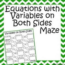 Multi Equations With Variables On Both Sides Worksheet Solving Equations With Variables On Both Sides Activity Equation