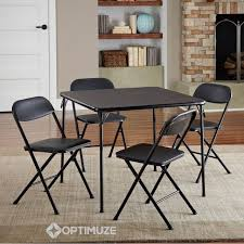 Folding Dining Table Sets 5p Home Card Table Set Easy Folding Black Metal 4 Chairs Dining