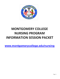 montgomery college nursing program information session packet