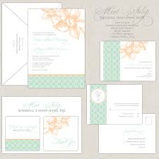 mint wedding invitations peach u0026 mint green wedding invites