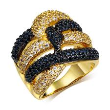 big rings designs images Latest design cubic zirconia gold rings black and white stone jpg
