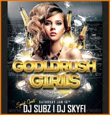 club flyer templates free download goldrush girls club party flyer