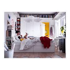 chambre brimnes brimnes cadre de lit rangement tête de lit blanc luröy 160x200 cm