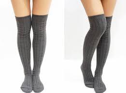 stripe knitted knee high knee socks grey sandysshop