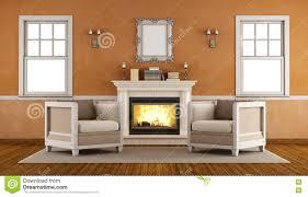 Wohnzimmer Retro Klassischer Kamin In Einem Retro Wohnzimmer Stock Abbildung