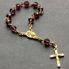 christian rosary purple pocket rosary small chaplet handmade pocket rosary