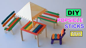 diy popsicle sticks table with shade furniture toys easy crafts