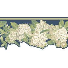 york wallcoverings inspired by color hydrangea wallpaper border