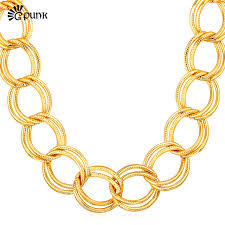vintage necklace chains images Accessories vintage necklace big yellow gold color figaro chunky jpg