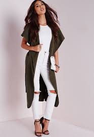 missguided sleeveless belted waterfall coat khaki in natural lyst