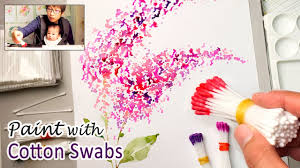 cotton swabs painting technique for beginners basic easy step by