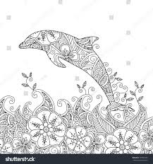 coloring page one jumping dolphin sea stock illustration 507040252