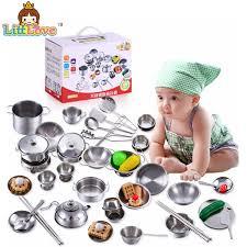 ustensile cuisine enfant littlove 25 pcs en acier inoxydable enfants maison cuisine jouets de