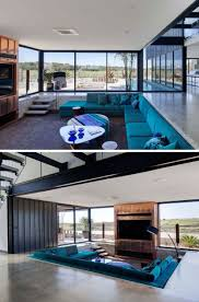 living room cobalt blue sectional sofa colorful ottoman triangle