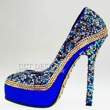 Wedding Shoes Blue Women Gold Royal Blue Rhinestones Party Shoes Platforms Crystals