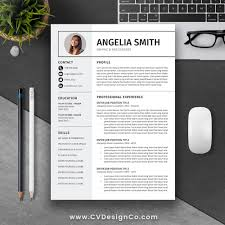 Best One Page Resume Template Best Selling Resume Cv Template The Angelia Instant Download