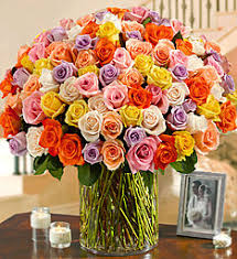 Multicolor Roses Send Colorful Rainbow Roses Multi Colored Roses 1800flowers Com