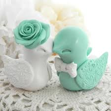 birds wedding cake toppers wedding cake topper birds mint green and white