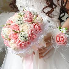 wedding flowers cheap cheap wedding bouquet pink and white flower bridesmaid