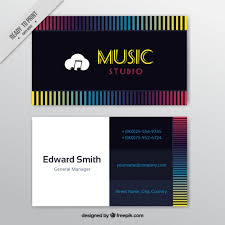 Business Card Music Business Card With Colored Lines For A Music Studio Vector Free