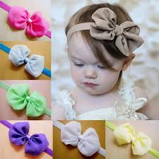 baby girl hair bows retail baby chiffon bow headbands solid color infant girl hair