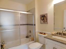 contemporary full bathroom with chair rail u0026 rain shower head in