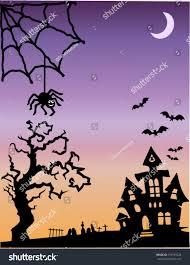 spooky halloween scene haunted house old stock vector 319733528