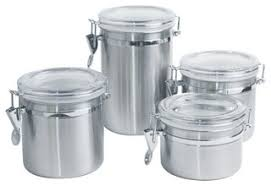kitchen canisters and jars 4 canister set stainless steel contemporary kitchen