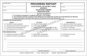 academic progress report template academic progress report with parent signature line