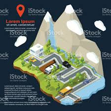 vector isometric street urban elements on 3d map different houses