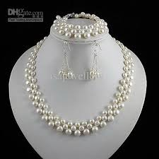 necklace set white images Charming 3rows jewelry set aa 5 8mm white genuine freshwater pearl jpg