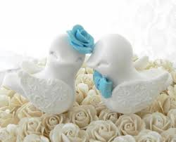 romantic wedding cake topper love birds white and pool blue