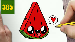 how to draw a watermelon cute easy step by step drawing lessons
