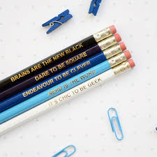 blue geek pencils set ombre colourful retro hex hand pressed