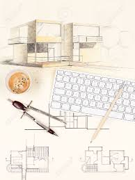 architectural blueprint of modern house with computer keyboard