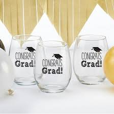 Graduation Favors by Stemless 15 Once Wine Glass Graduation Favors With