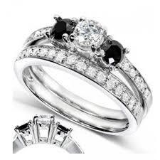 black diamond bridal set luz womens engagement set in platinum with black diamond center