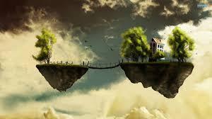 island floating bridge dream bokeh fantasy sky fly house trees