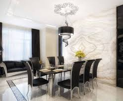luxury modern dining room with black silver dining table and